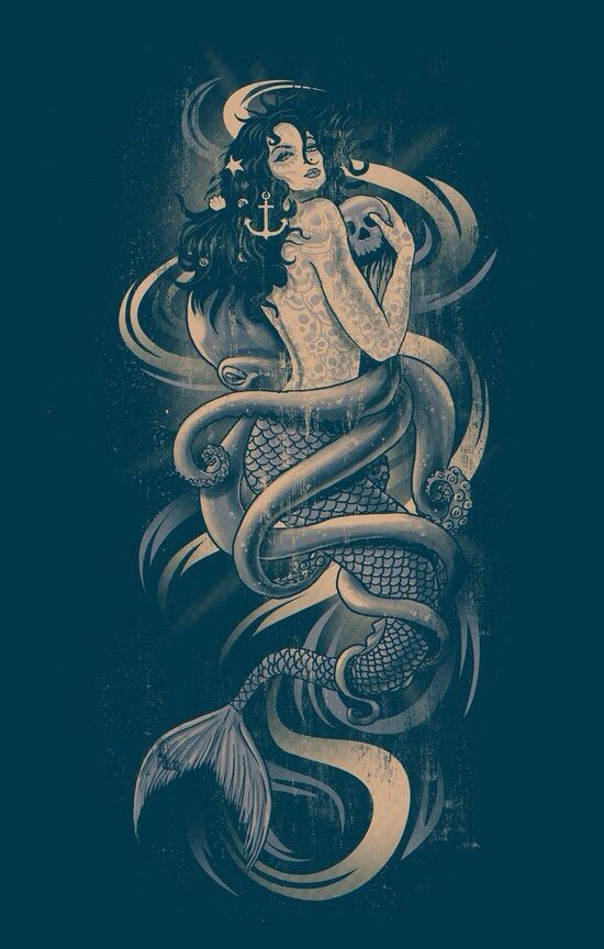 Luxury mermaid with a skull entwined with long tentacles tattoo design