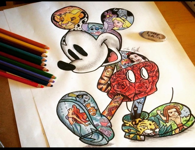 Luxury multicolor mickey mouse with disney cartoons for Mickey mouse tattoo designs