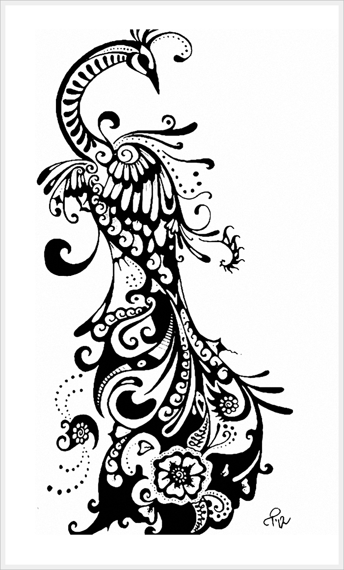 luxury ornate black and white peacock tattoo design. Black Bedroom Furniture Sets. Home Design Ideas