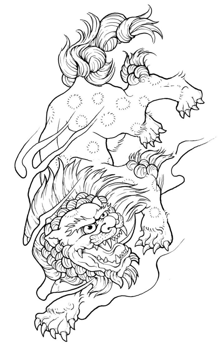 Luxury outline chinese foo dog hunting on his prey tattoo design