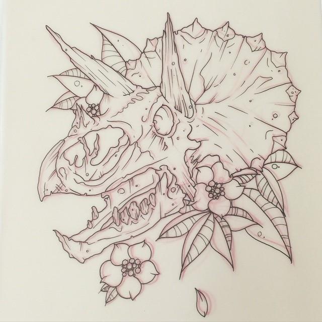 Luxury outline horned dinosaur skull with flowers tattoo design