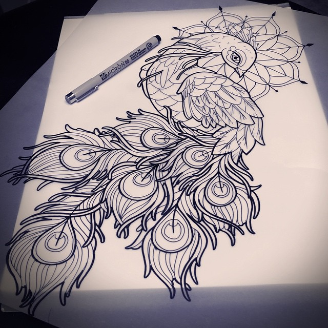 Luxury peacock with mandala nimbus tattoo design