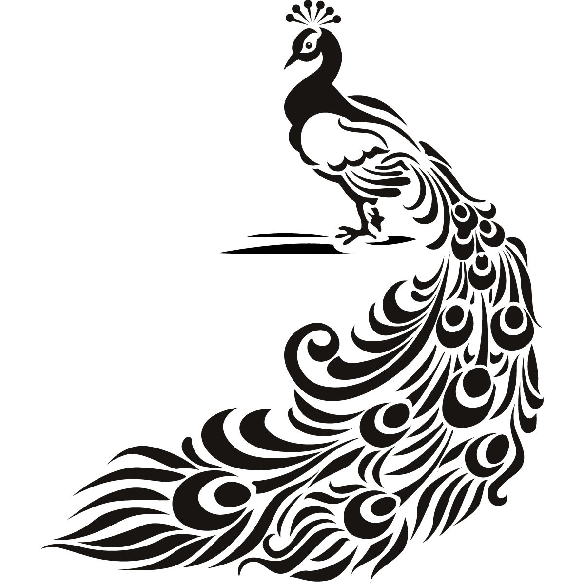 Luxury tribal peacock with long tail tattoo design