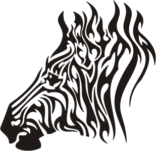 Luxury tribal zebra head tattoo design