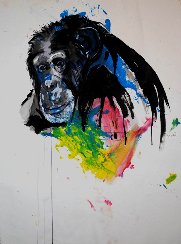 Luxury vivid watercolor chimpanzee tattoo design