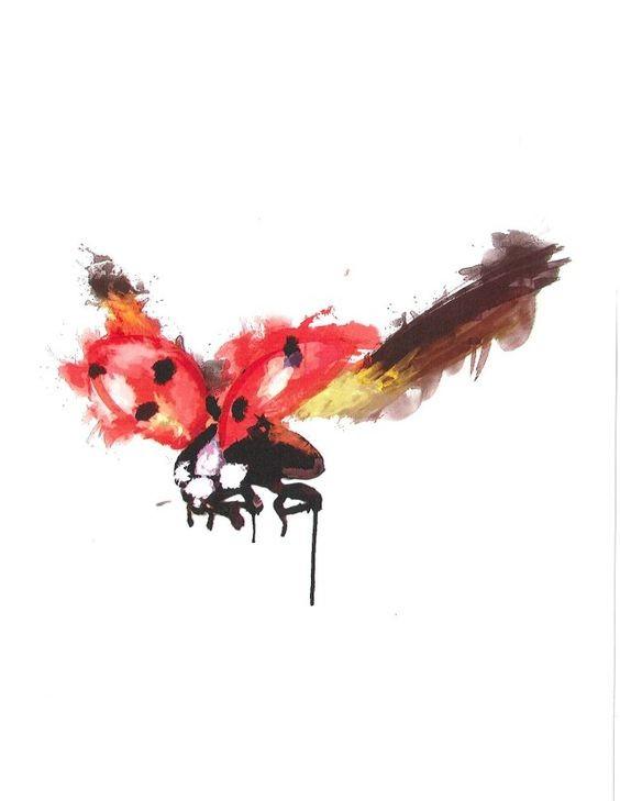 Luxury watercolor flying ladybug tattoo design