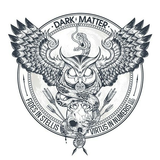 Mad-eyed flying owl with a skull on emblem background tattoo design