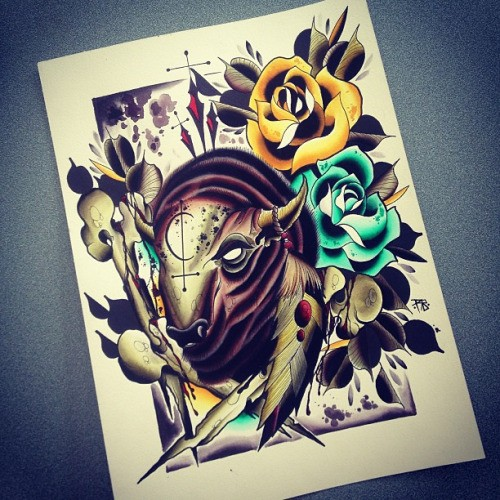 Mad blind bull surrounded with yellow and turquoise roses tattoo design