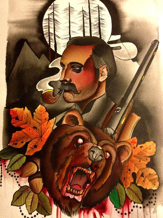 Mad blooded bear with maple leaves and smoking man tattoo design