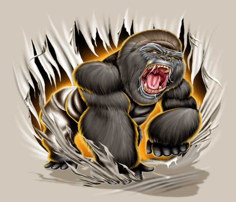Mad colorful gorilla tearing from white background tattoo design by Brown73