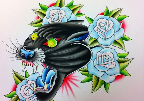 Mad colorful panther surrounded with blue roses tattoo design