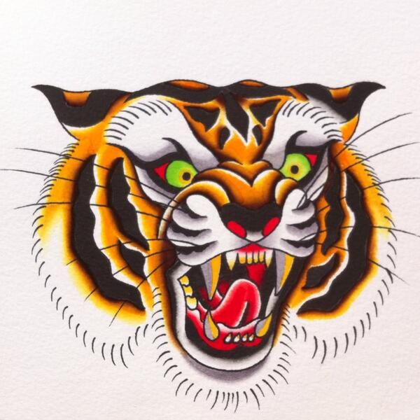 Mad colorful screaming tiger head tattoo design