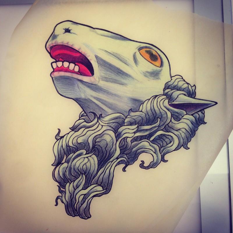 Mad colorful sheep head with orange eyes tattoo design