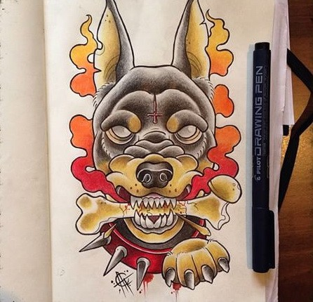 Mad devilish multicolor doberman with bone in teeth tattoo design
