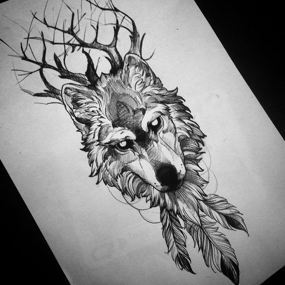 Mad empty-eyed horned wolf with feathers tattoo design
