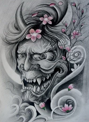 Mad grey-ink devil face and tender cherry blossom tattoo design