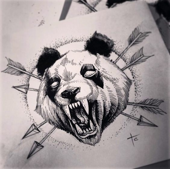 Mad grey-ink screaming panda killed with arrows tattoo design