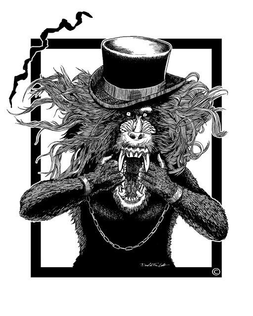 Mad long-haire screaming sir baboon in high hat and handcuffs tattoo design