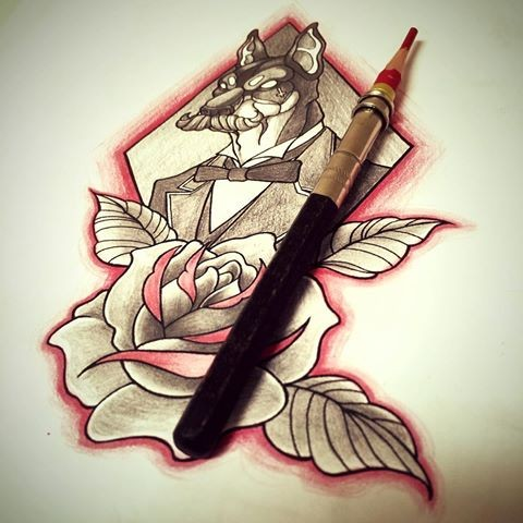 Mad sir doberman in suit and huge rose in grey-and-red colors tattoo design