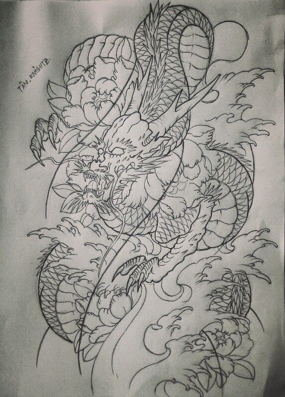 Mad uncolored asian dragon with big peony buds tattoo design