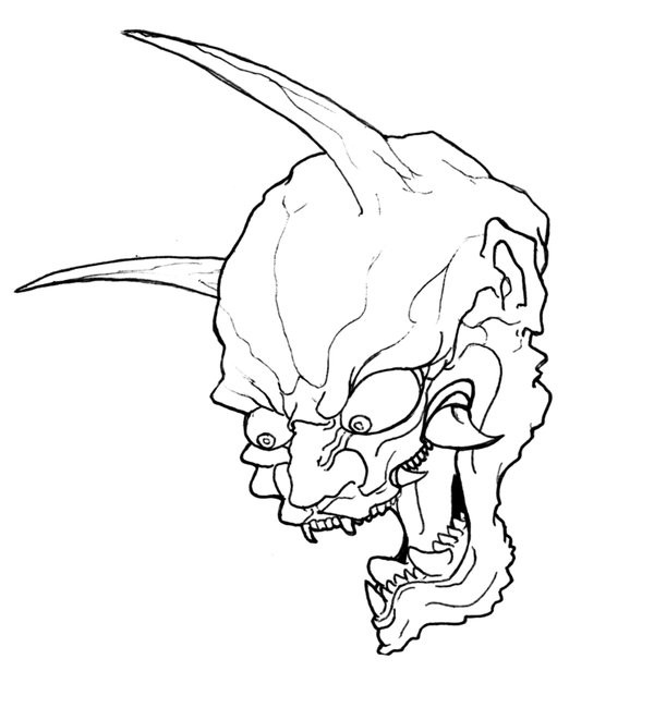 Mad wicked outline devil tattoo design by Soulsweeper