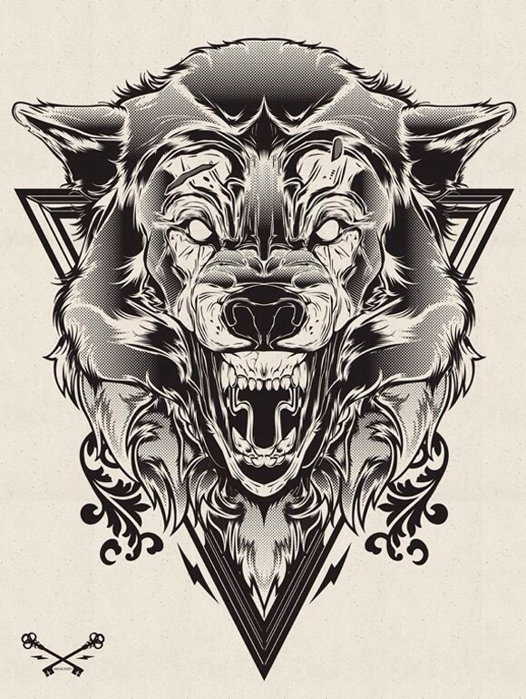 Madness white-eyed wolf head in triangle frame tattoo design