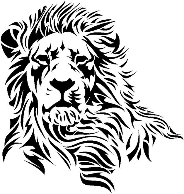 Majestic tribal lion portrait tattoo design