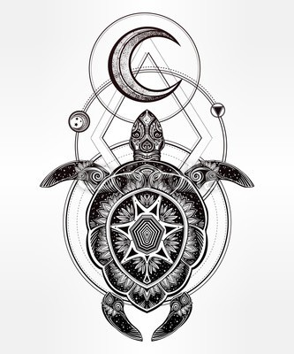 Mandala-shell turtle with half moon and geometric drawings tattoo design
