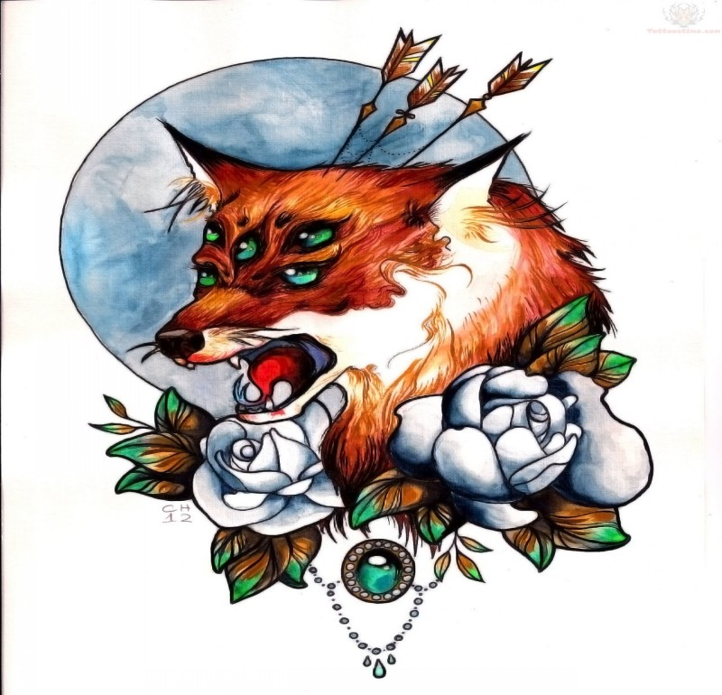 Many-eyed crying fox with arrows and roses on full moon background tattoo design