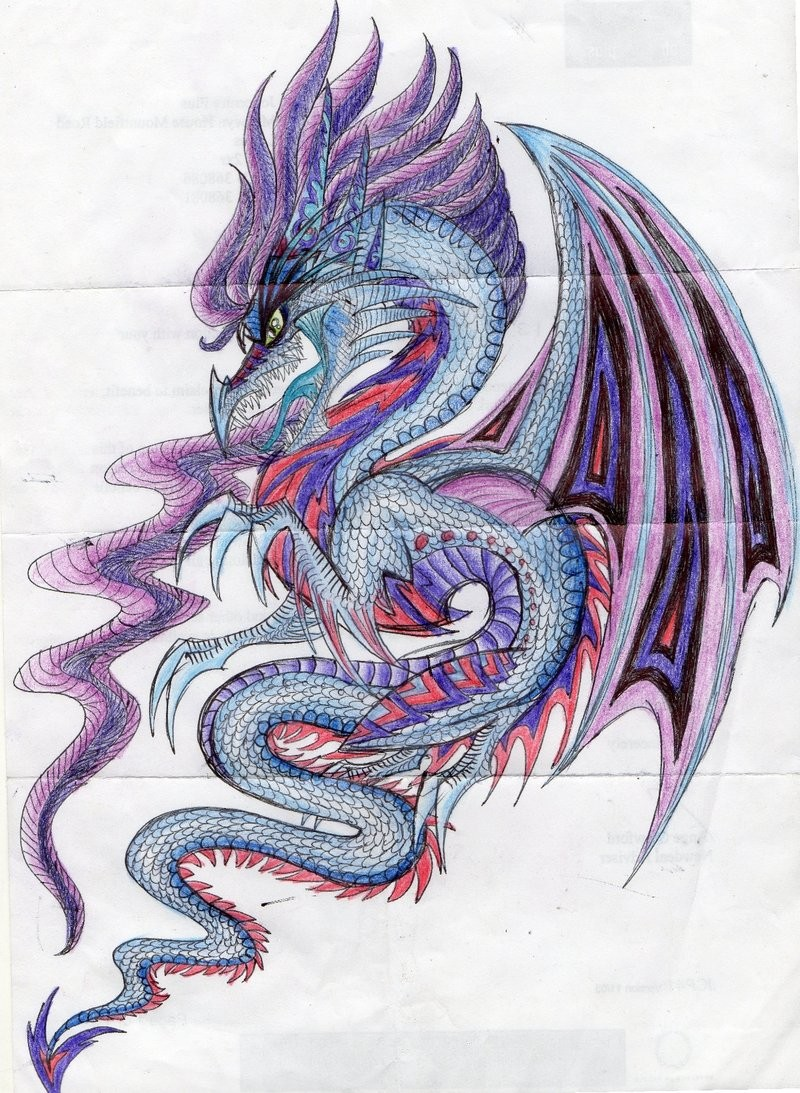 marvelous blue and purple dragon tattoo design by nazgul666. Black Bedroom Furniture Sets. Home Design Ideas