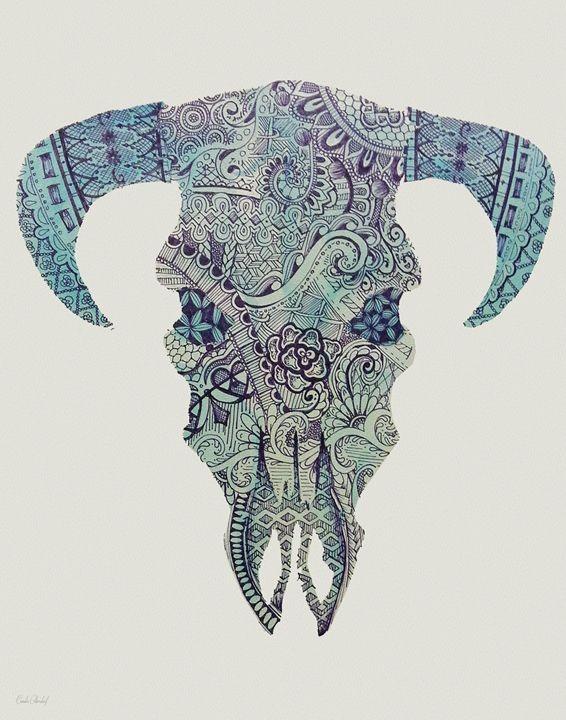 Marvelous blue-color ornate bull skull tattoo design