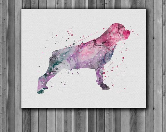 Marvelous bright watercolor standing rottweiler tattoo design