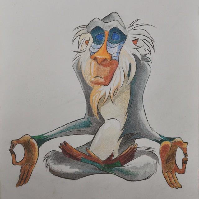 Marvelous colorful meditating baboon tattoo design