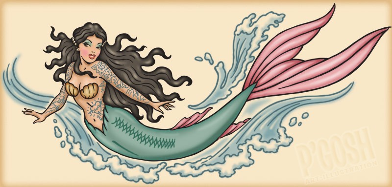 Marvelous colorful tattooed swimming mermaid tattoo design