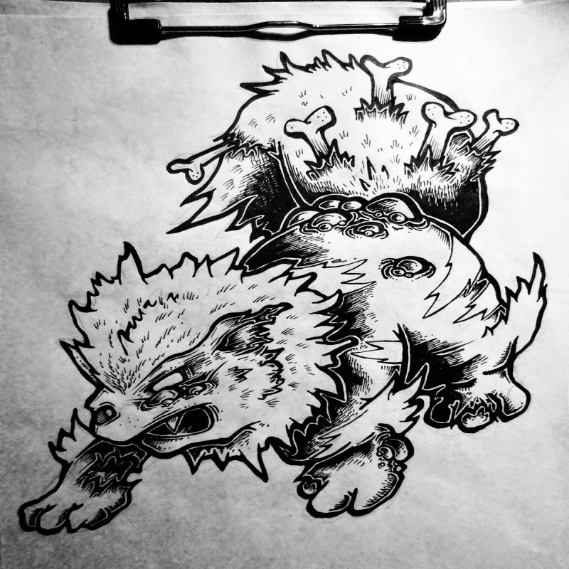 Marvelous colorless zombie animal with bones in a tail tattoo design