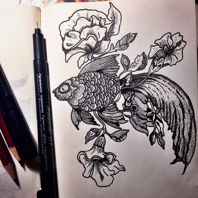 Marvelous dotwork gold fish and stemed flowers tattoo design