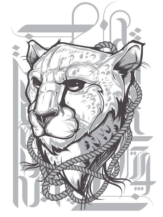 Marvelous grey-ink cheetah with rope collar tattoo design