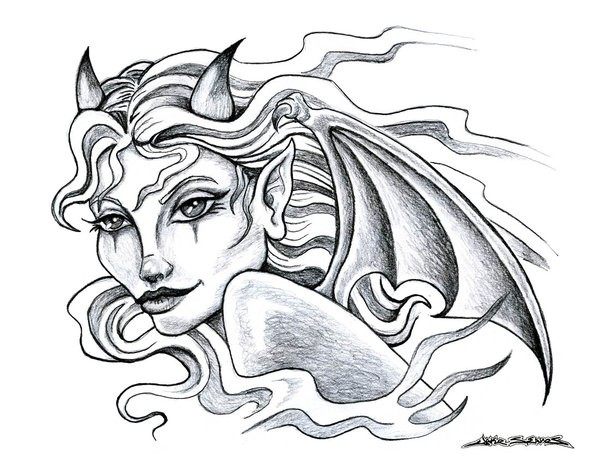 Marvelous grey-ink devil woman with bat wings tattoo design by Muddy Green