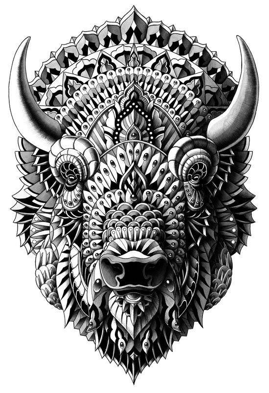 Marvelous grey-ink rich-decorated bull tattoo design