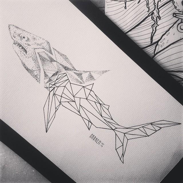 Marvelous half-dotwork half-geometric shark tattoo design