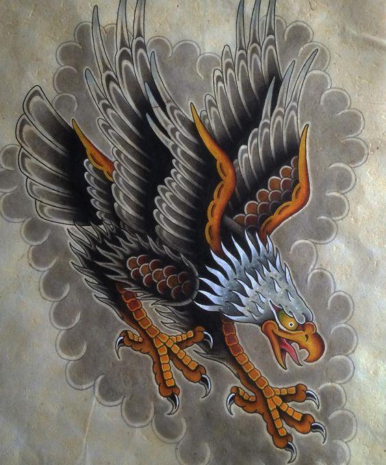 Marvelous old school eagle flying on grey cloud background tattoo design