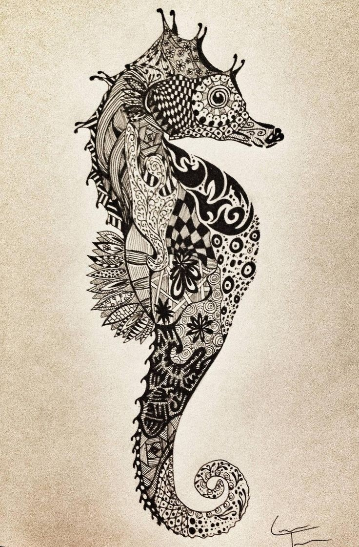 Marvelous patterned seahorse tattoo design