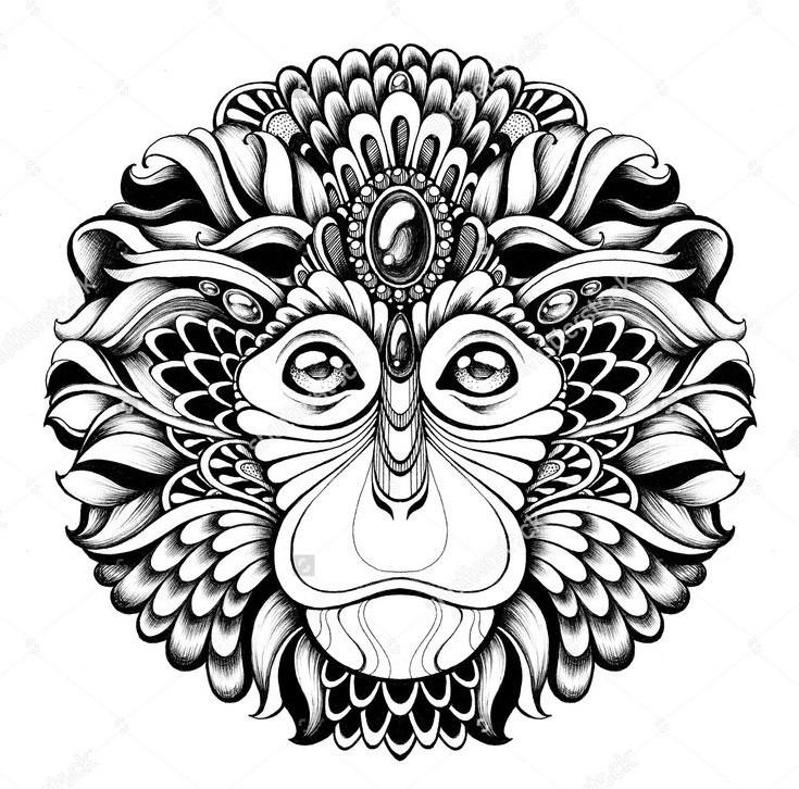 Marvelous round rich ornamented chimpanzee head tattoo design
