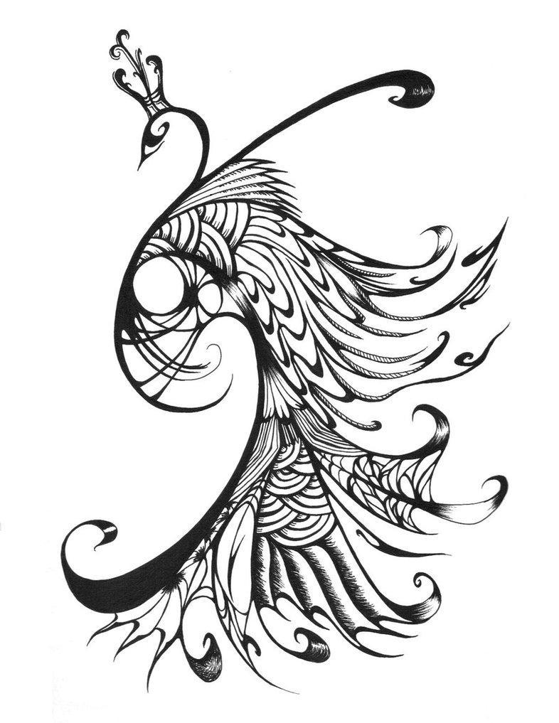 Colour Line Art Design : Marvelous tribal peacock in crown tattoo design