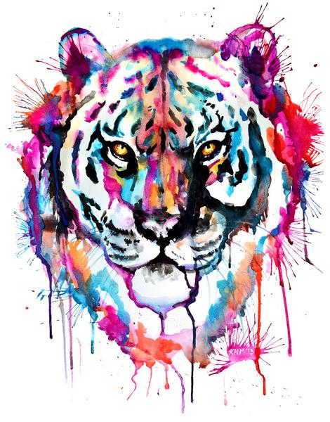 Art Design Pictures : Marvelous watercolor tiger portrait tattoo design