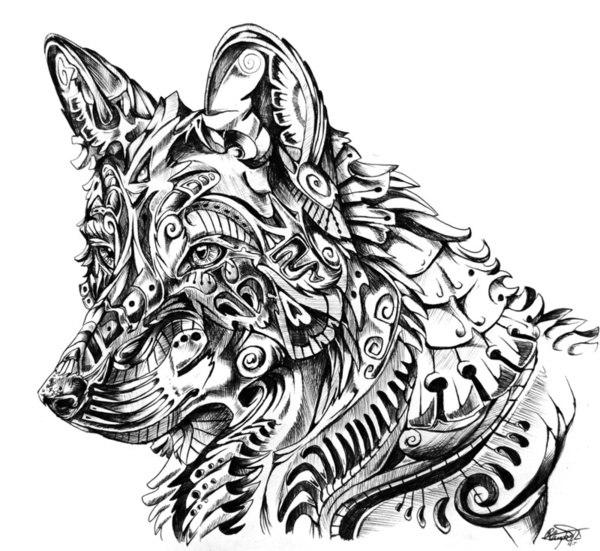 6ef9d3eff Marvelous wolf in ornamented armor tattoo design - Tattooimages.biz
