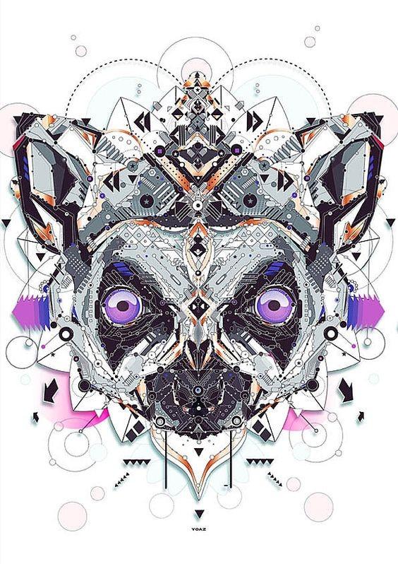 Mechanical purple-eyed lemur head tattoo design