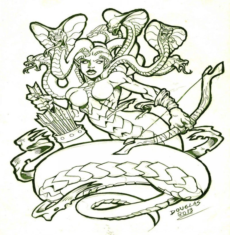 Medusa gorgona warrior with a bow and arrows tattoo design by Douglas Draco