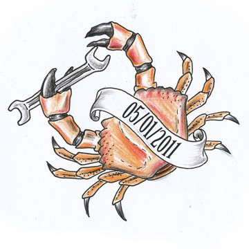 Memorable red crab keeping a spanner in claw tattoo design