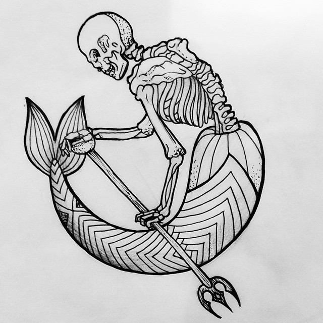 Mermaid skeleton with geometric tail and trident tattoo design